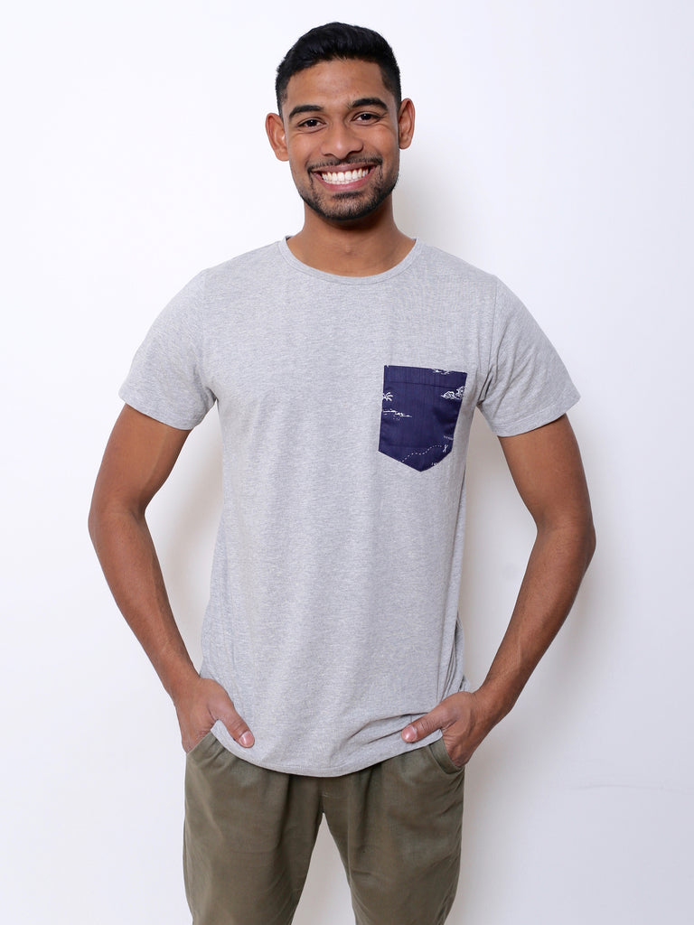 Men's Cotton T-shirt with Pocket (Grey)