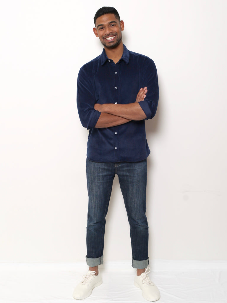 Men's Shirt - Navy Corduroy