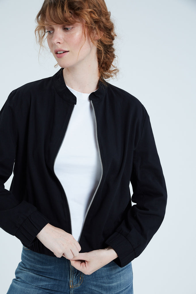 Women's Cotton Bomber Jacket (Black)