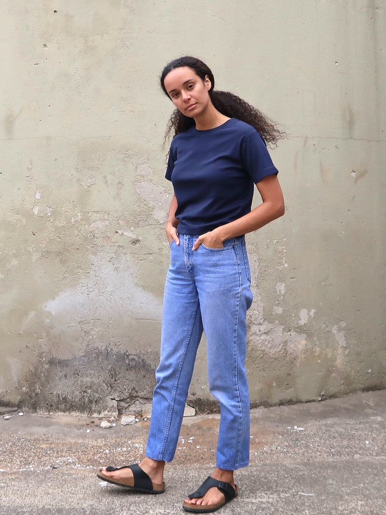 Women's Organic Cotton Bamboo Rib Tee - Navy