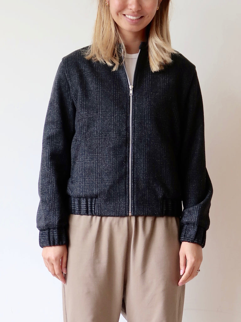 Women's Bomber Jacket (Wool Plaid)