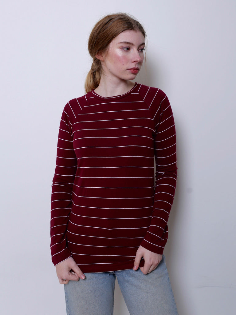 Women's Raglan T-shirt (Burgundy/White Stripe)