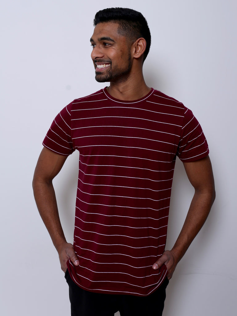 Men's Cotton T-shirt (Burgundy/White Stripe)