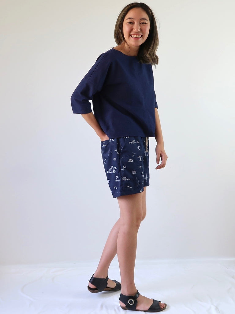 Women's Cotton Shorts - Island Print