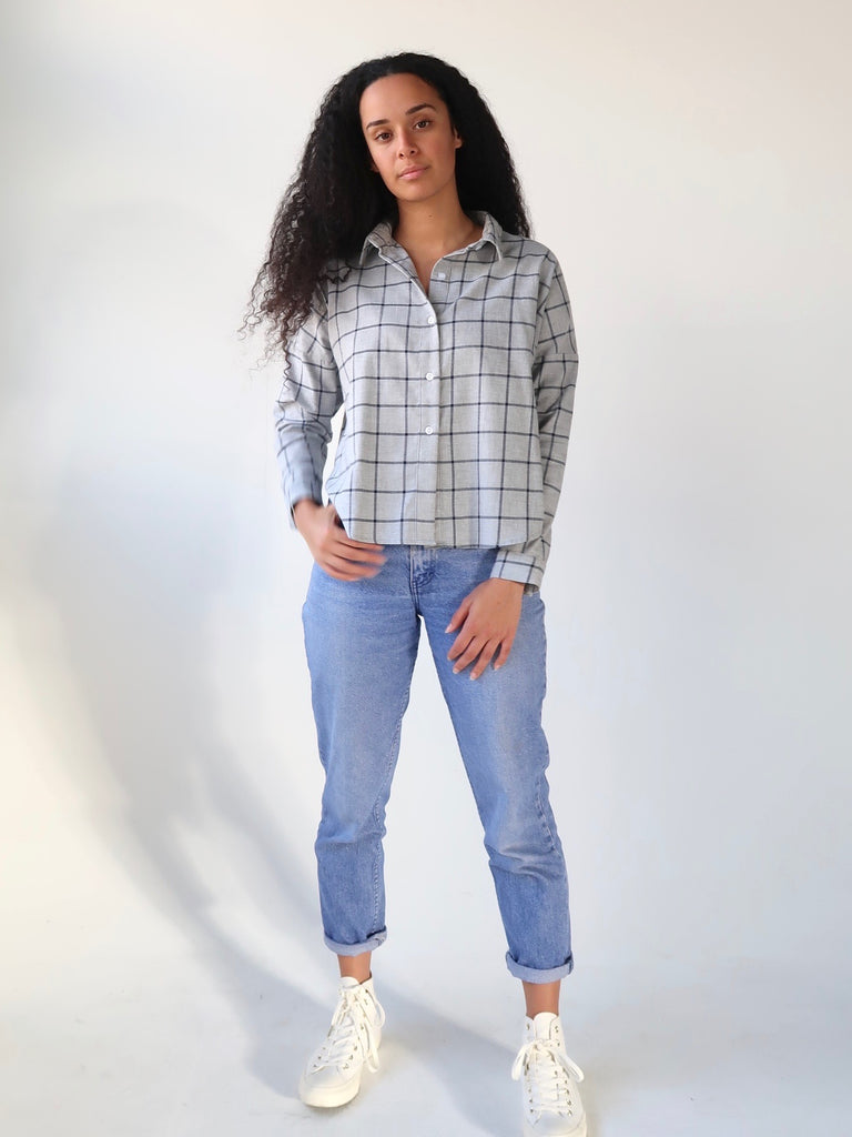 Women's Deadstock Cotton Flannel Boxy Shirt - Grey Plaid