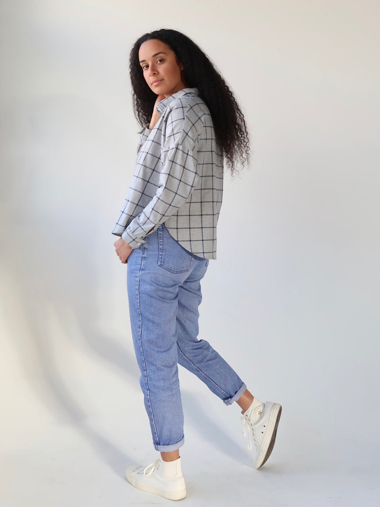 7cb5c6c89f Women s Deadstock Cotton Flannel Boxy Shirt - Grey Plaid – Theo the ...