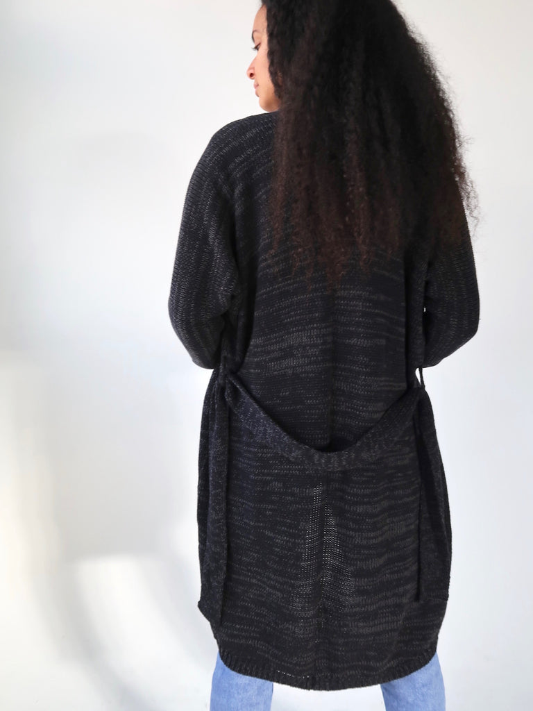 Women's Slouch Knit Cardigan - Black