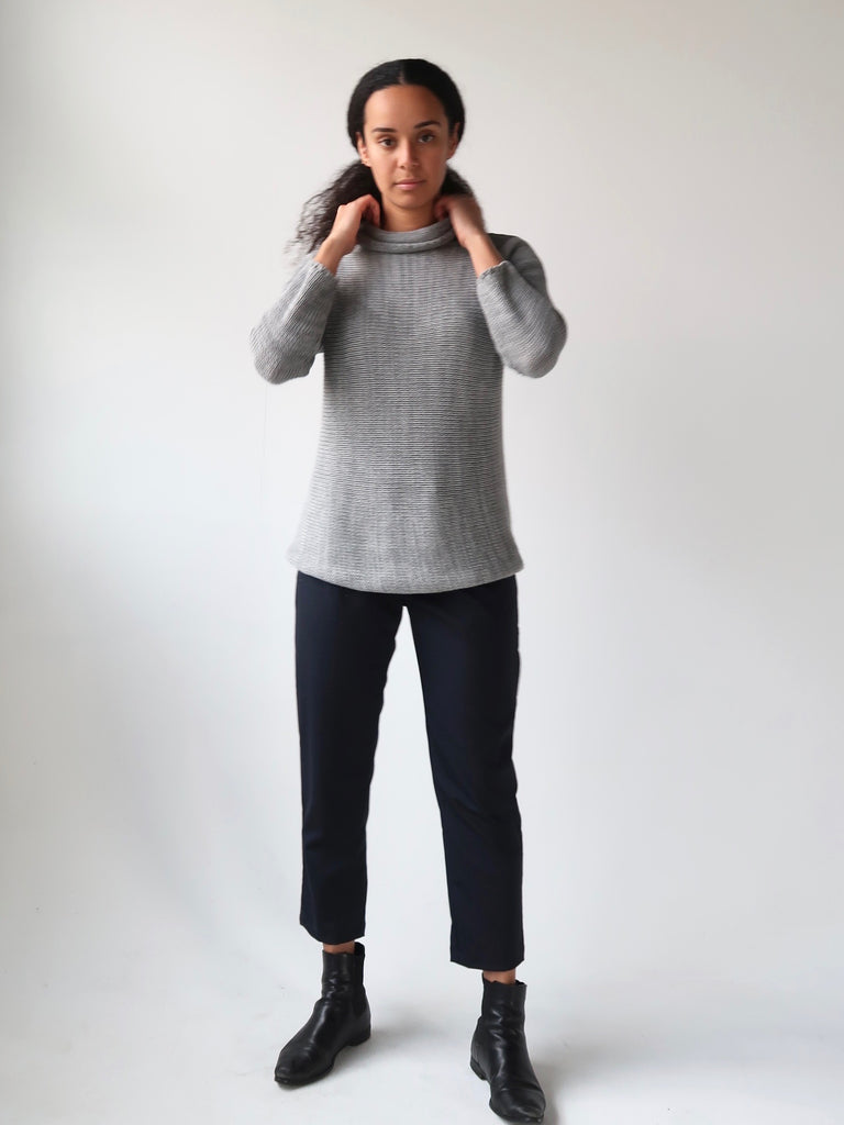 Women's Cowl Knit Sweater - Misty