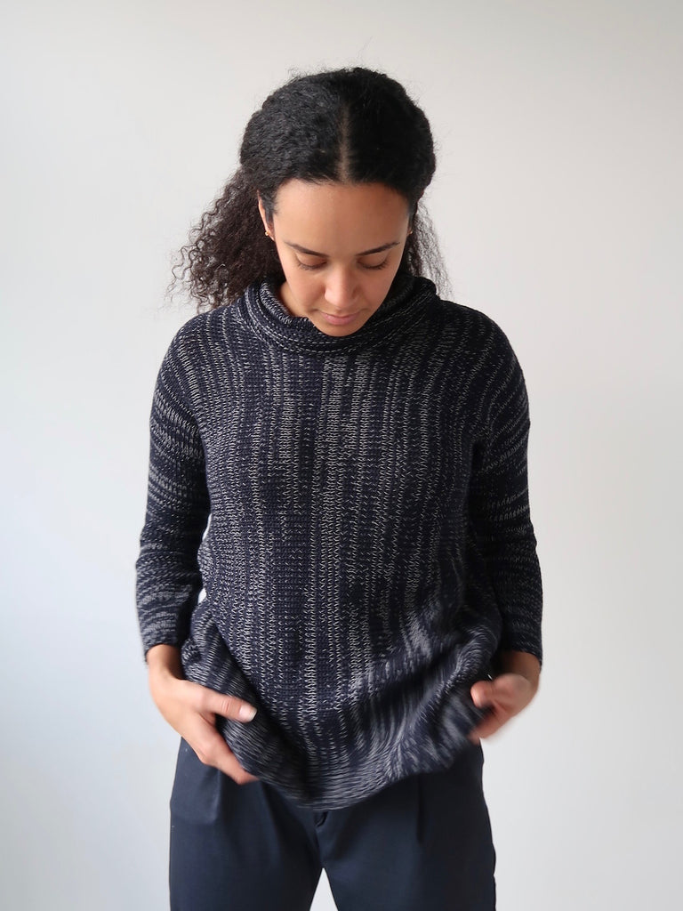 e235ebae3 Women s Cowl Knit Sweater - Navy – Theo the Label