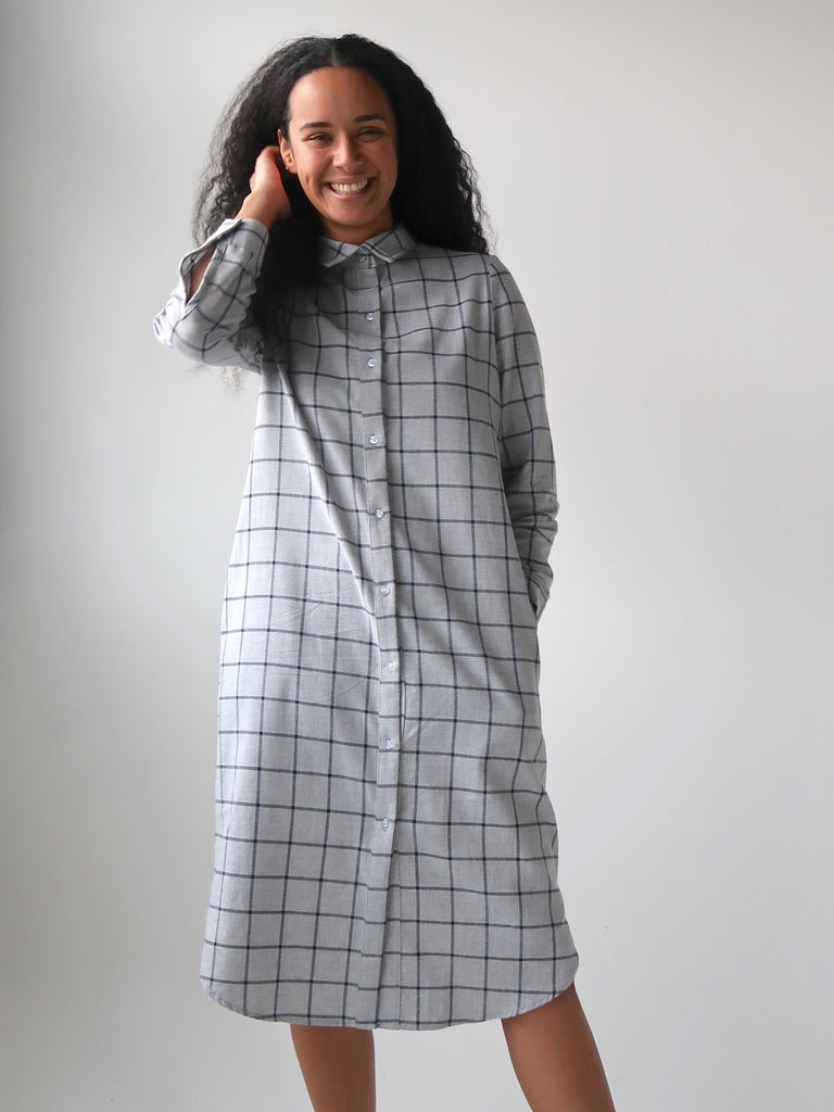 584cbe0c93 Women s Deadstock Cotton Flannel Shirt Dress - Grey Plaid – Theo the ...