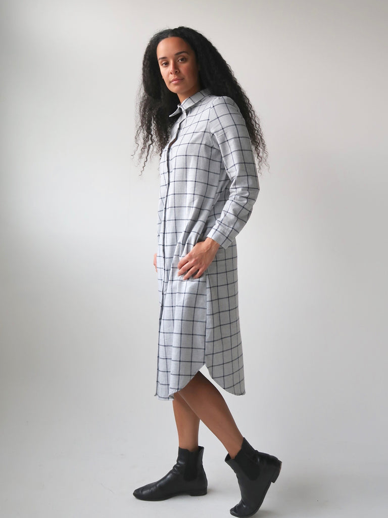 80312a72ea Women s Deadstock Cotton Flannel Shirt Dress - Grey Plaid – Theo the Label