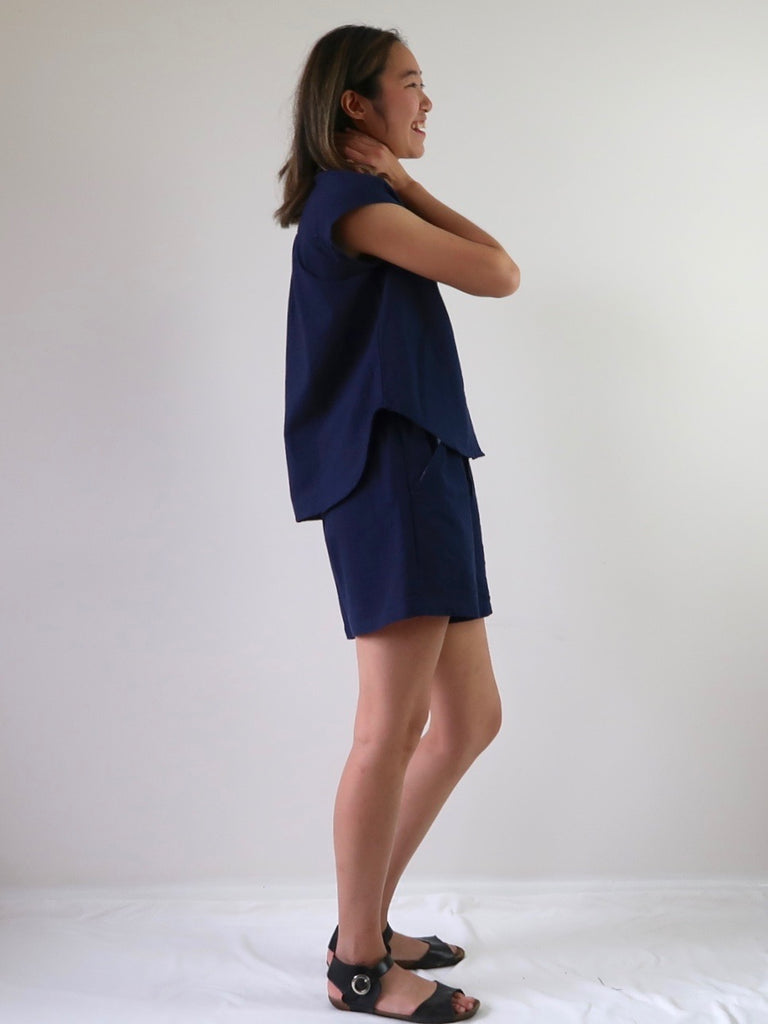 Women's Sleeveless Shirt - Navy
