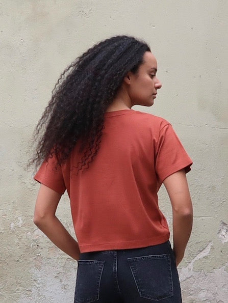 Women's Organic Cotton Bamboo Rib Tee - Terracotta