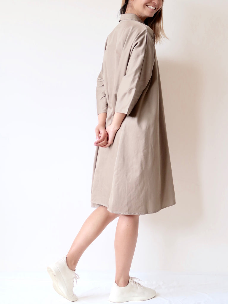 Women's Organic Flare Shirt Dress (Khaki)