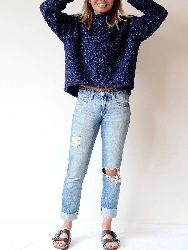 Women's Boxy Wool Jumper (Navy)