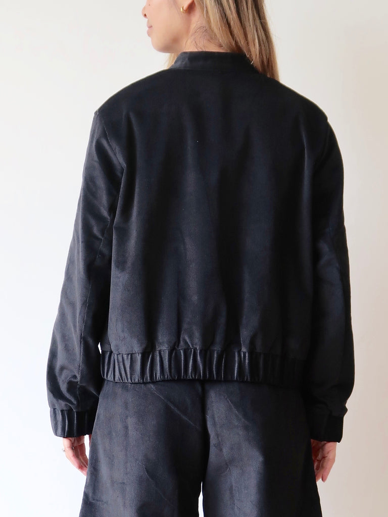 Women's Bomber Jacket (Black Corduroy)