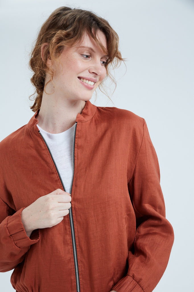 Women's Linen Bomber Jacket (Rust)