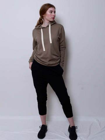Women's Boyfriend Jumper with Hood (Khaki)
