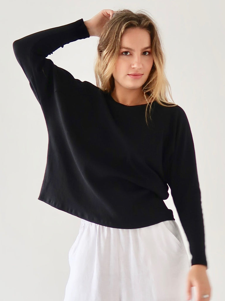 Women's Rib Batwing Top - Black