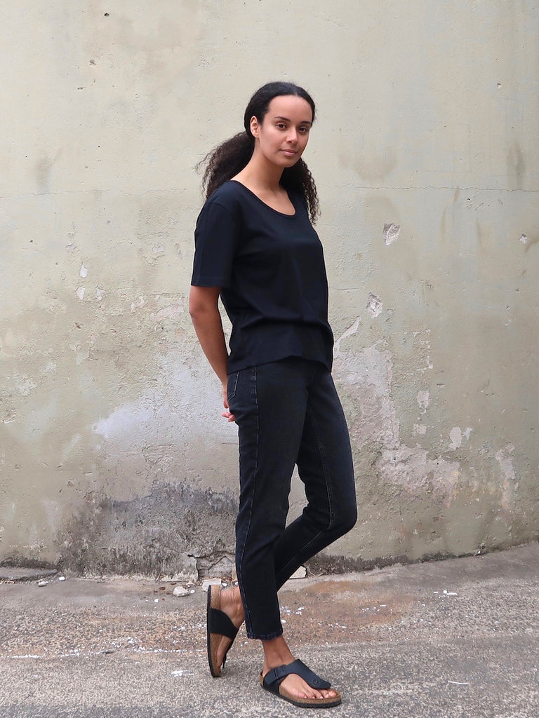 Women's Organic Cotton Bamboo Boyfriend Tee - Black