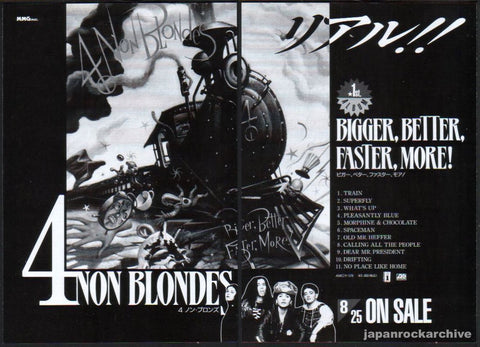 4 Non Blondes 1993/09 Bigger, Better, Faster, More! Japan album promo ad