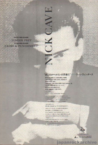 Nick Cave 1989/05 Tender Prey / Crime and Punishment Japan album promo ad
