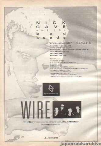 Nick Cave 1989/06 Tender Prey / Crime and Punishment Japan album promo ad