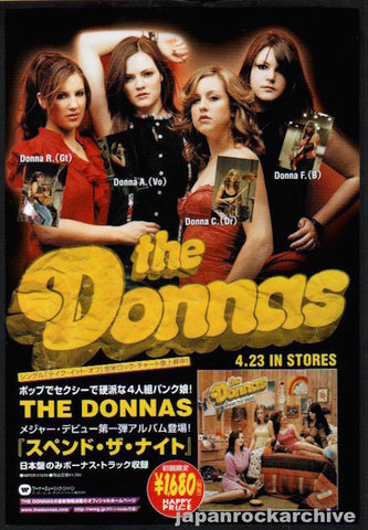 The Donnas 2003/05 Spend The Night Japan album promo ad