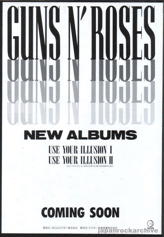 Guns N' Roses 1991/07 Use Your Illusion I & II Japan album promo ad