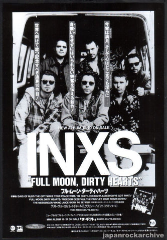 INXS 1994/01 Full Moon, Dirty Hearts Japan album promo ad