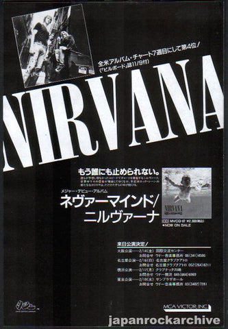 Nirvana 1992/02 Nevermind Japan album / tour promo ad
