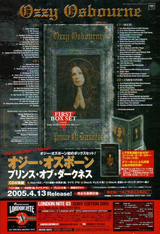 Ozzy Osbourne 2005/05 Prince Of Darkness Japan box set promo ad