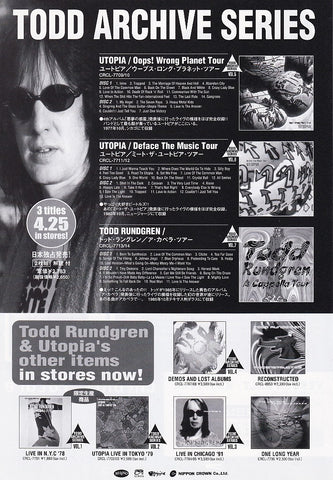 Todd Rundgren 2001/05 Archive Series Japan album promo ad