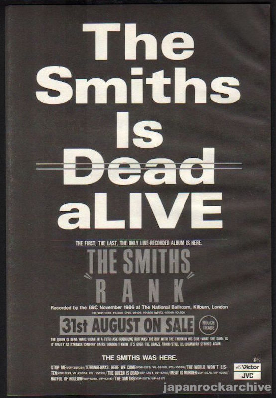 The Smiths 1988/09 Rank Japan album promo ad