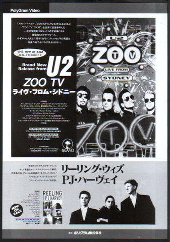 U2 1994/06 Zoo TV Live From Sydney Japan album promo ad