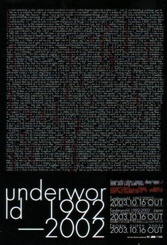 Underworld 2003/11 1992-2002 Japan album promo ad