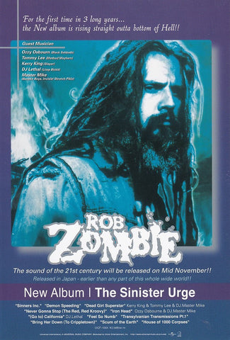 Rob Zombie 2001/11 The Sinister Urge Japan album promo ad