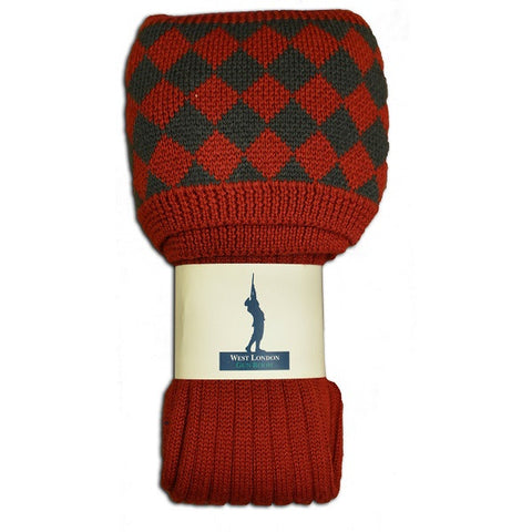West London Gun Room Chessboard Brick Red Socks