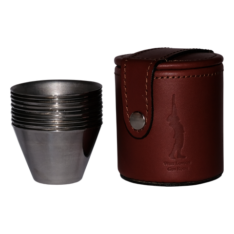 West London Gun Room 10 Small Cups and Leather Case