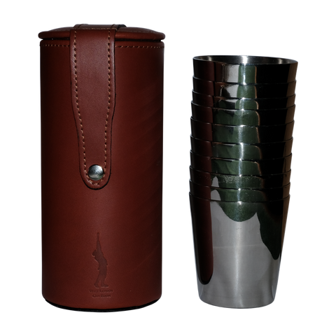 West London Gun Room 10 Steel Cups with Leather Case