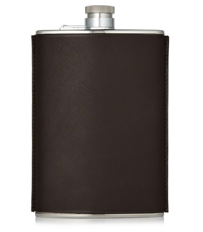 Purdey 8oz Leather Flask - Brown
