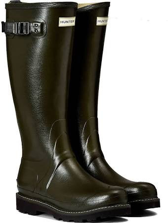 Hunter Womens Green Poly-lined Balmoral Wellies