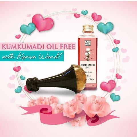 Kansa Wand for Face & Body Plus FREE Kumkumadi Oil
