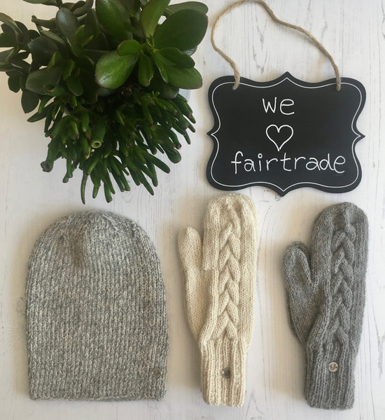 hand knitted alpaca beanie and mittens