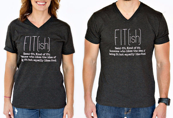 FIT(ish) Black Unisex V-Neck T-shirt