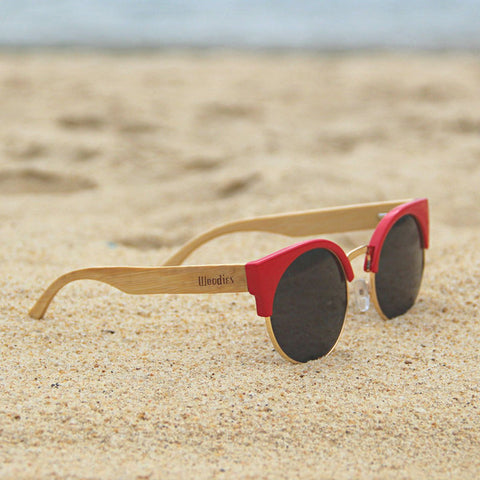 2e4444b5fc4 RED CAT EYE BAMBOO WOOD SUNGLASSES