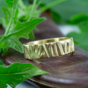 18k Gold Nature inspired wedding band, 6mm, Anvehu Jewelry