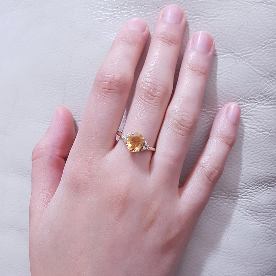 Citrine Engagement ring, Antique inspired Engagement ring