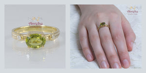 Nature Gold Rustic Engagement Ring with Peridot and Diamonds