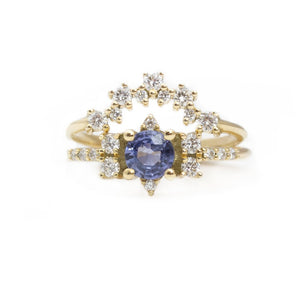 2pc Bridel Set .Sapphire Engagement Ring & Diamond Band - Anvehu Jewelry